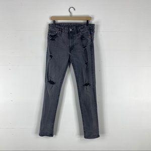 American Eagle Slim Leg Distressed Black Jeans